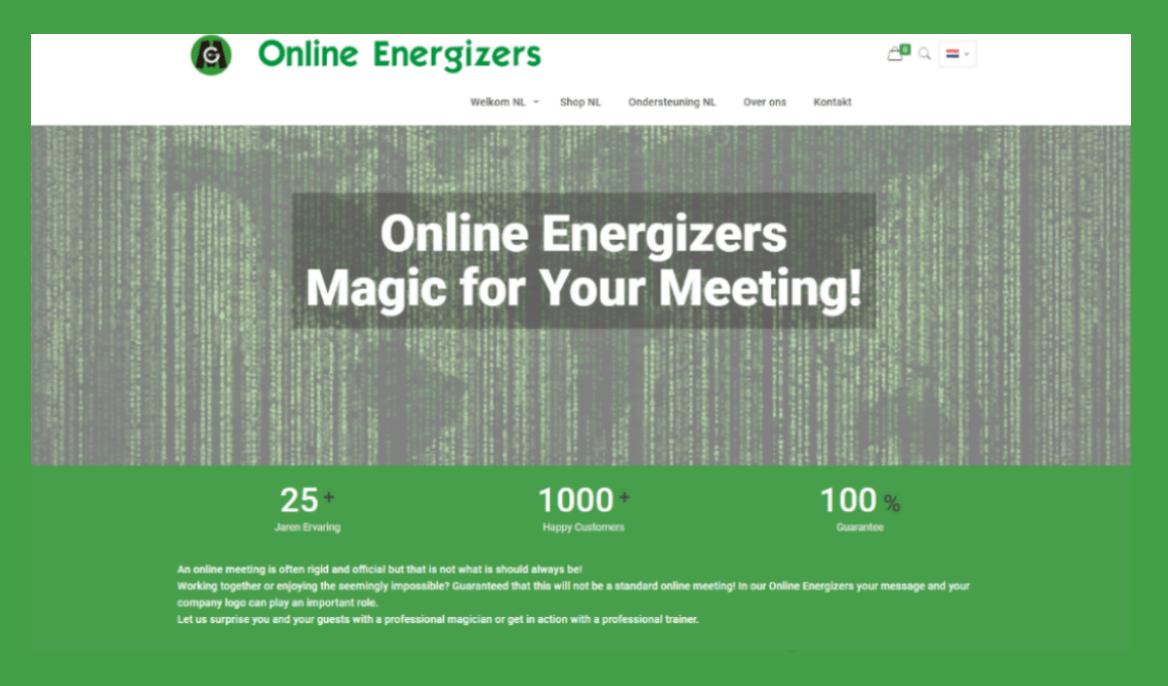 Site OnlineEnergizers.com in groen kader